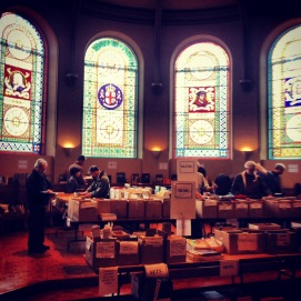 A book sale in Victoria College's chapel.